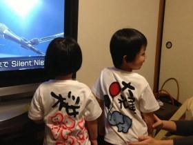ゾウ&桜tシャツ